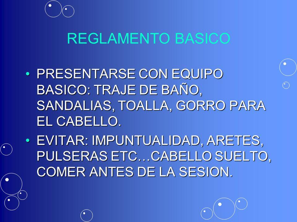REGLAMENTO BASICO PRESENTARSE CON EQUIPO BASICO: TRAJE DE BAÑO, SANDALIAS, TOALLA, GORRO PARA EL CABELLO.
