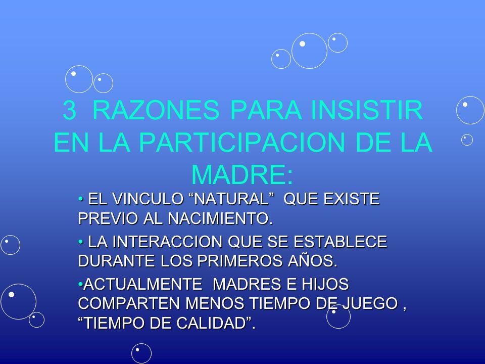 3 RAZONES PARA INSISTIR EN LA PARTICIPACION DE LA MADRE: