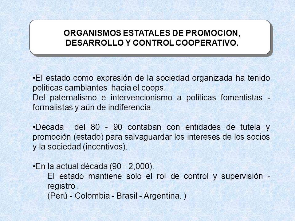 ORGANISMOS ESTATALES DE PROMOCION, DESARROLLO Y CONTROL COOPERATIVO.