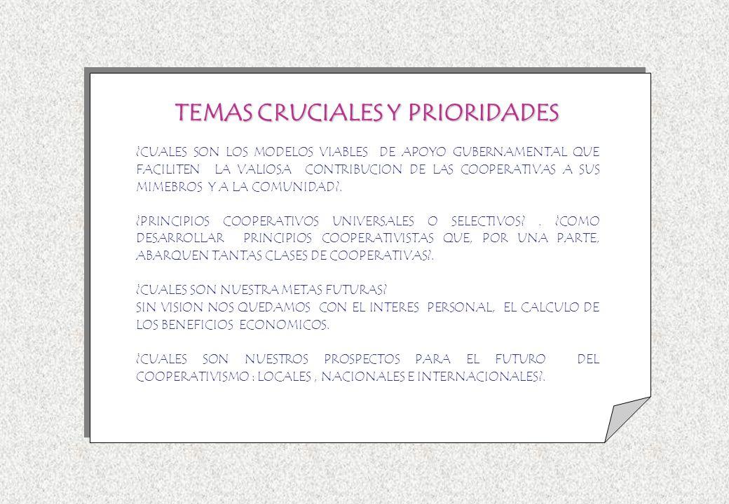 TEMAS CRUCIALES Y PRIORIDADES