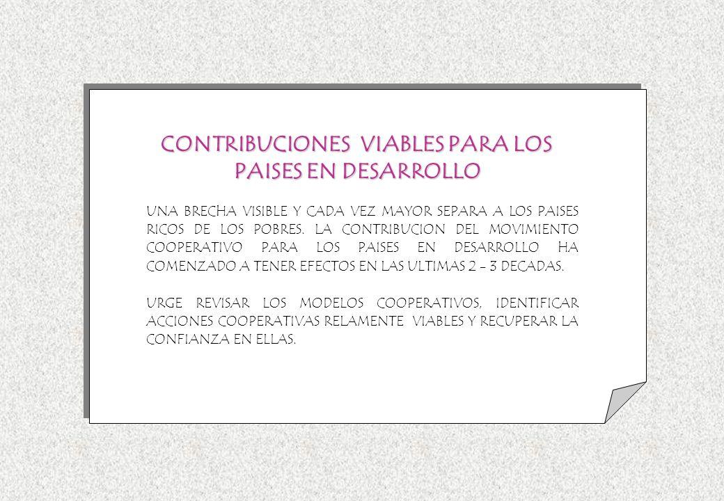 CONTRIBUCIONES VIABLES PARA LOS PAISES EN DESARROLLO