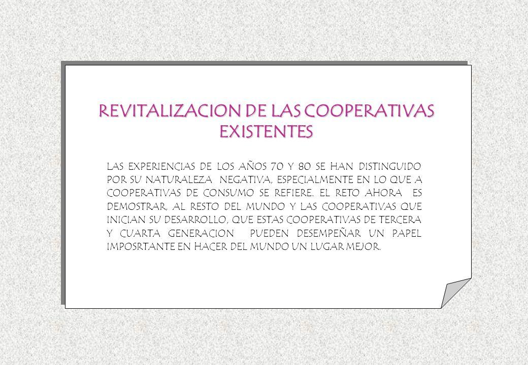 REVITALIZACION DE LAS COOPERATIVAS EXISTENTES