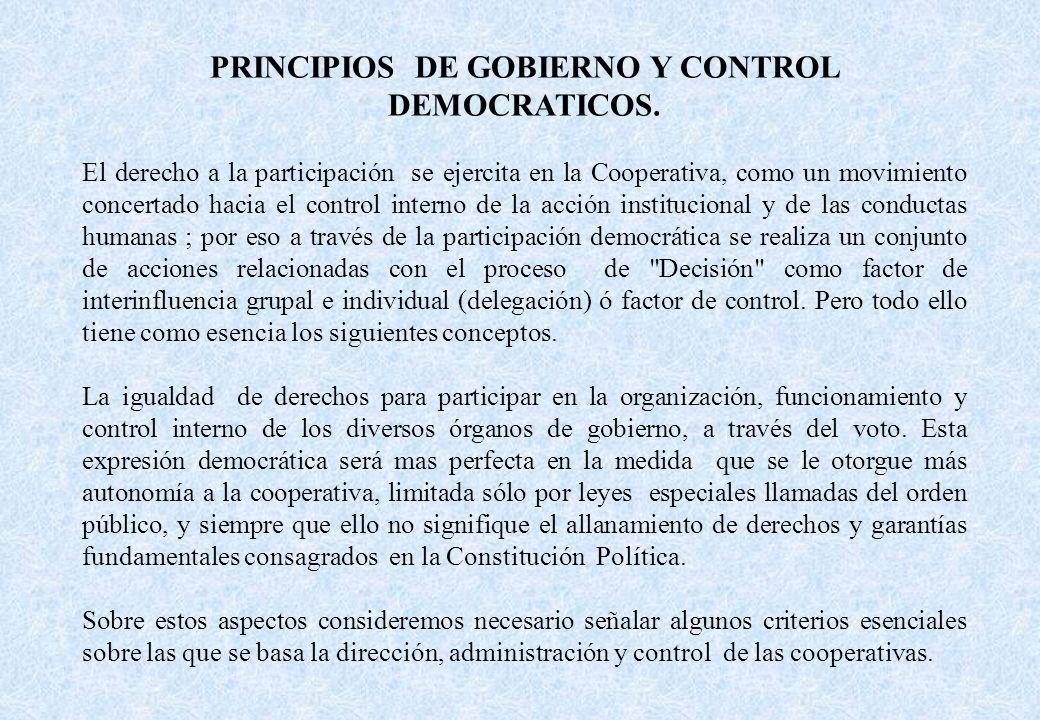 PRINCIPIOS DE GOBIERNO Y CONTROL DEMOCRATICOS.