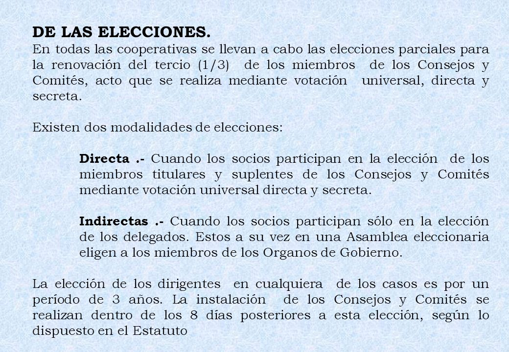 DE LAS ELECCIONES.
