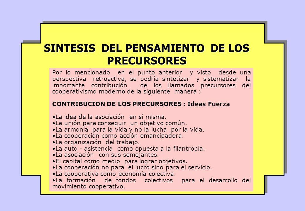 SINTESIS DEL PENSAMIENTO DE LOS PRECURSORES