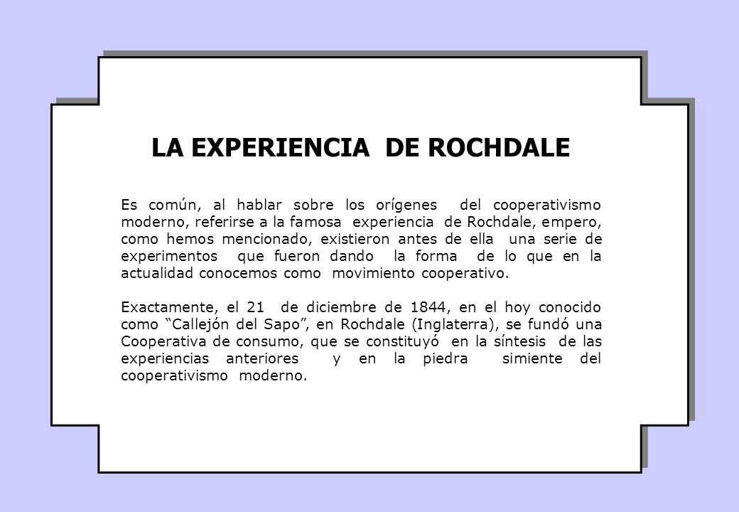 LA EXPERIENCIA DE ROCHDALE