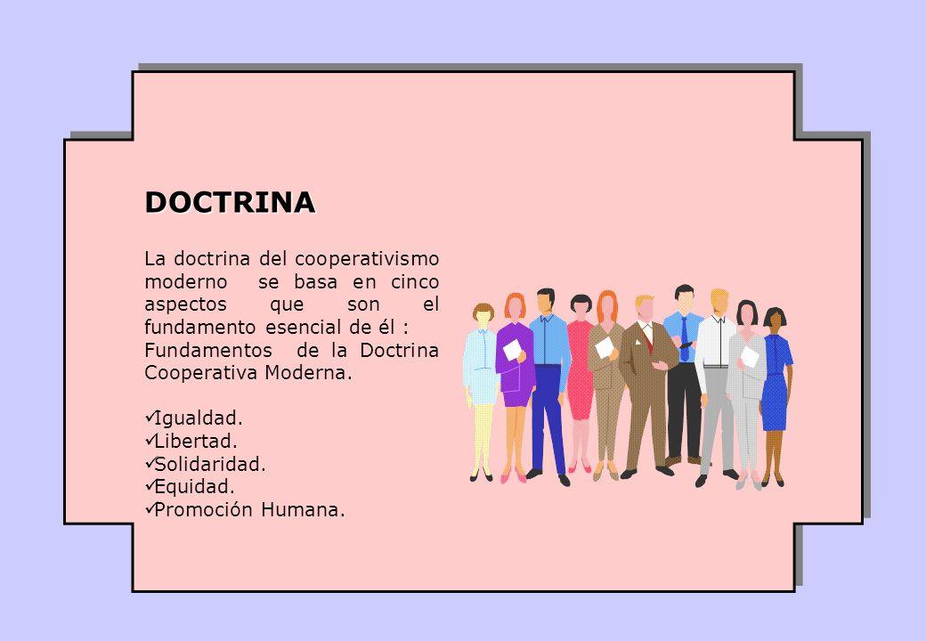 DOCTRINA La doctrina del cooperativismo moderno se basa en cinco aspectos que son el fundamento esencial de él :