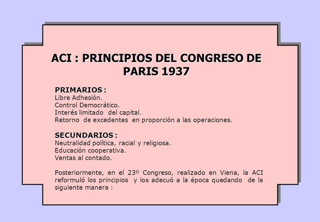 ACI : PRINCIPIOS DEL CONGRESO DE PARIS 1937