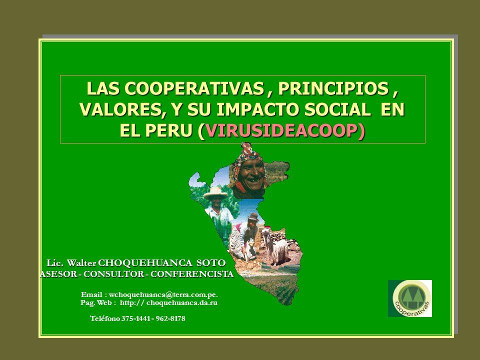 LAS COOPERATIVAS , PRINCIPIOS , VALORES, Y SU IMPACTO SOCIAL EN EL PERU (VIRUSIDEACOOP)