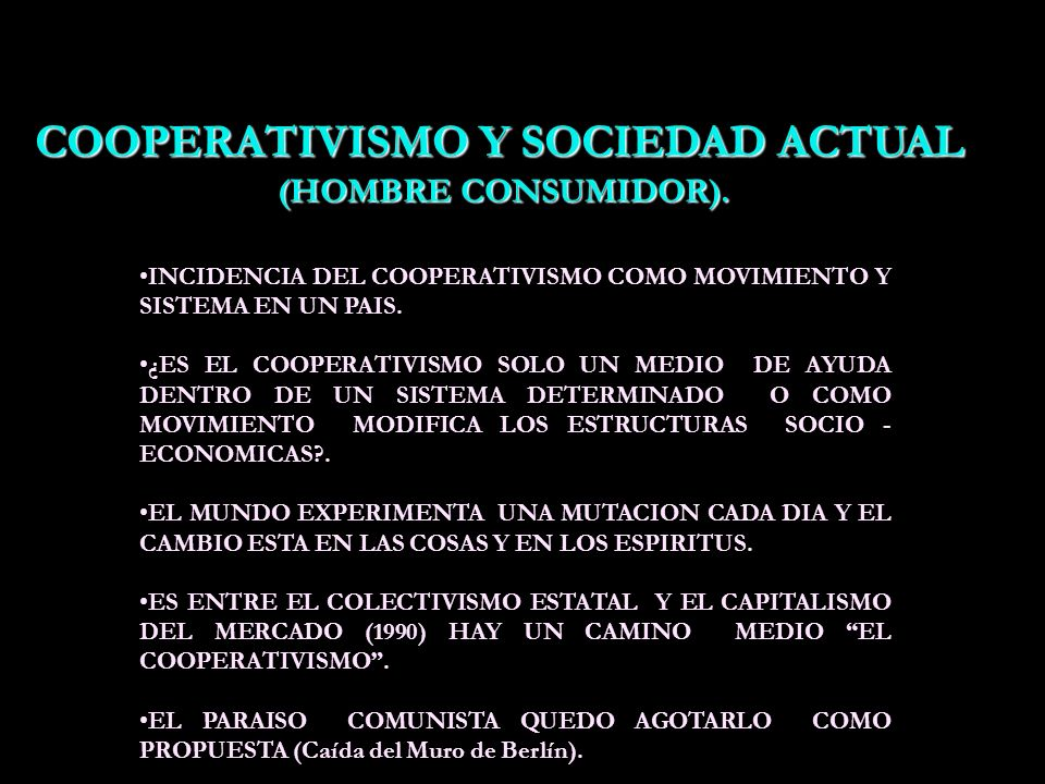COOPERATIVISMO Y SOCIEDAD ACTUAL