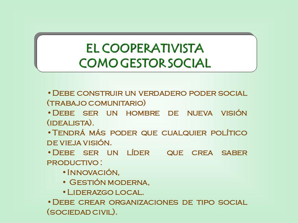 EL COOPERATIVISTA COMO GESTOR SOCIAL