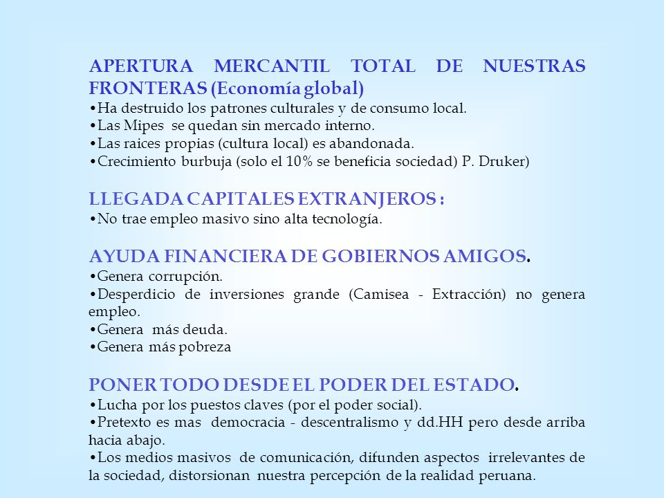 APERTURA MERCANTIL TOTAL DE NUESTRAS FRONTERAS (Economía global)