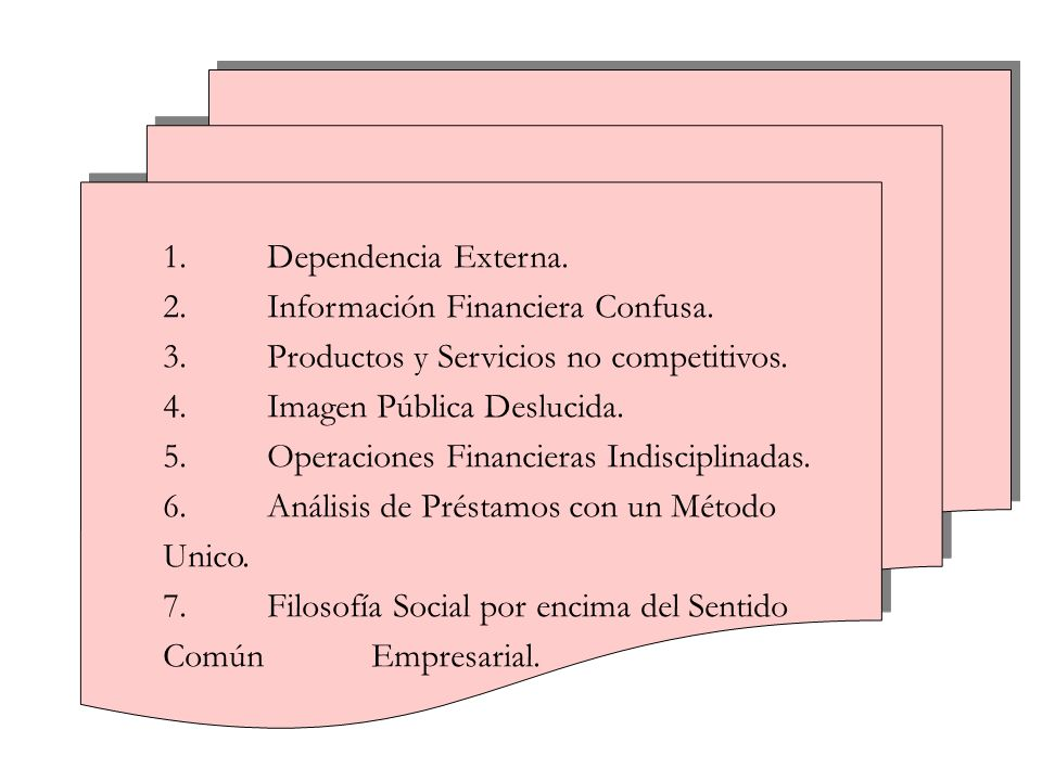 1. Dependencia Externa. 2. Información Financiera Confusa. 3. Productos y Servicios no competitivos.