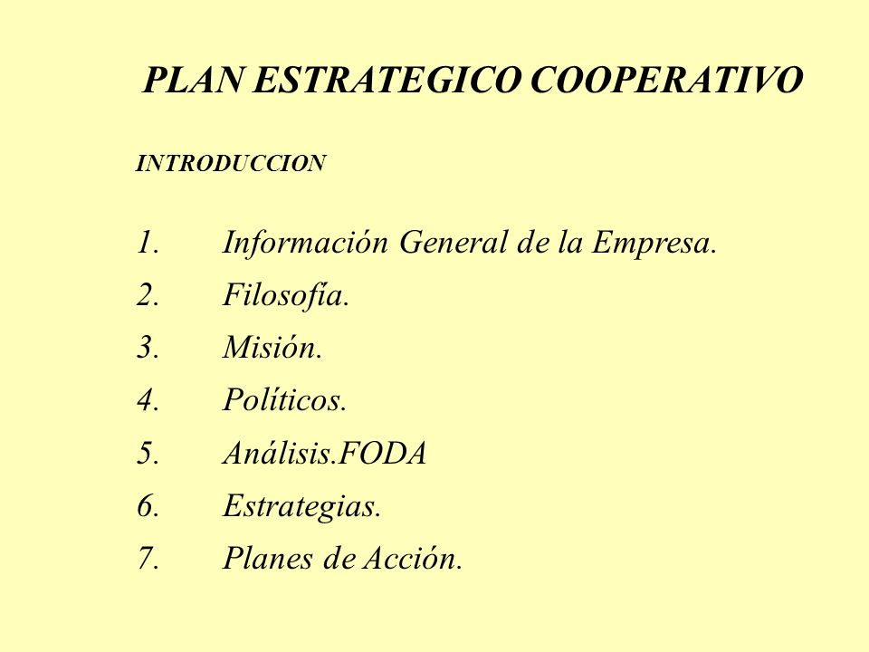 PLAN ESTRATEGICO COOPERATIVO