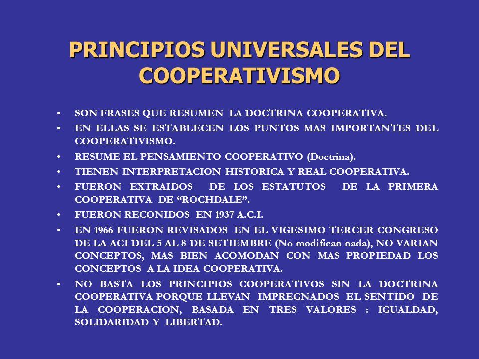 PRINCIPIOS UNIVERSALES DEL COOPERATIVISMO