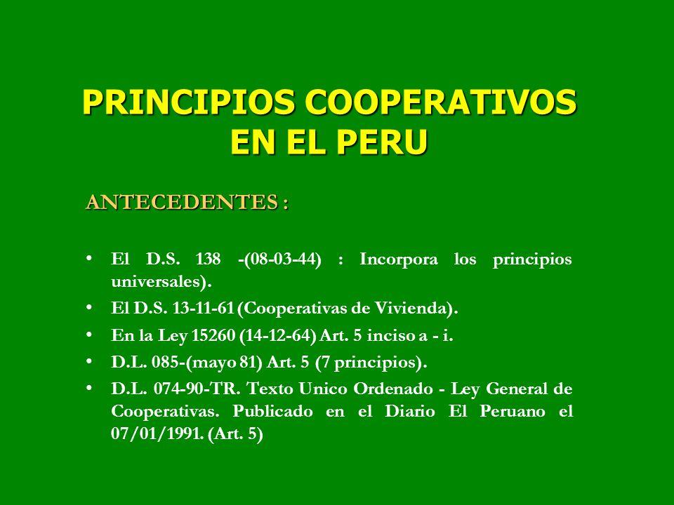 PRINCIPIOS COOPERATIVOS EN EL PERU