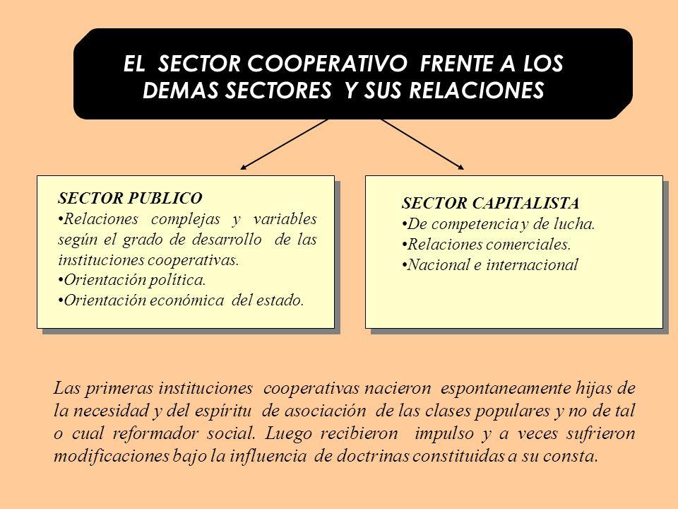 EL SECTOR COOPERATIVO FRENTE A LOS DEMAS SECTORES Y SUS RELACIONES