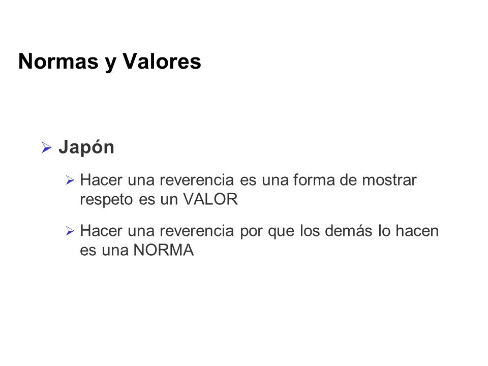 Normas y Valores Japón. Hacer una reverencia es una forma de mostrar respeto es un VALOR.