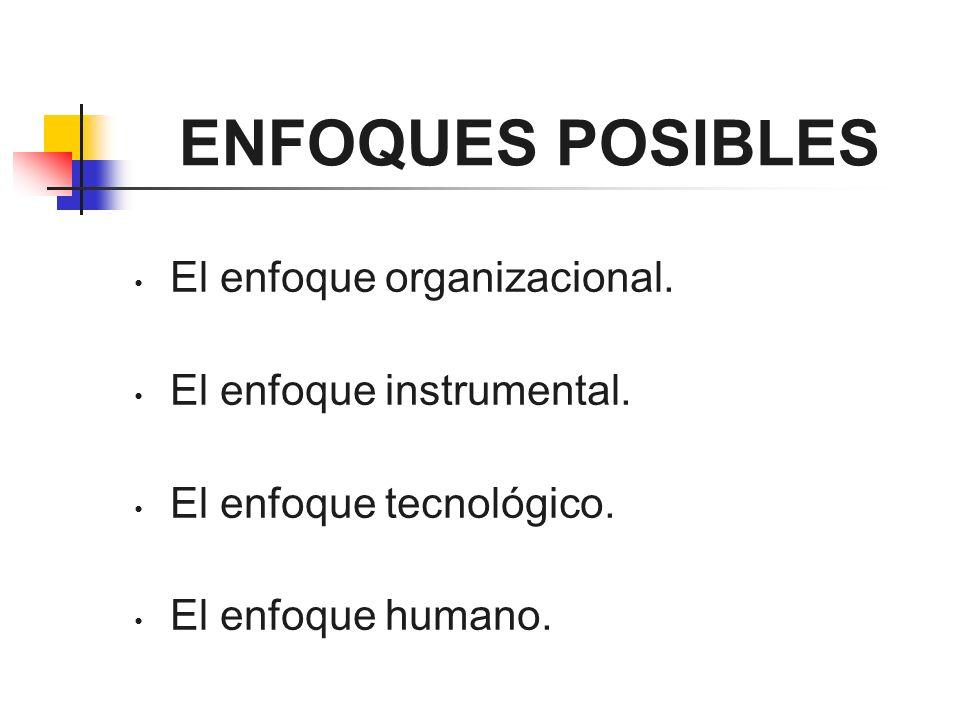 ENFOQUES POSIBLES El enfoque organizacional. El enfoque instrumental.