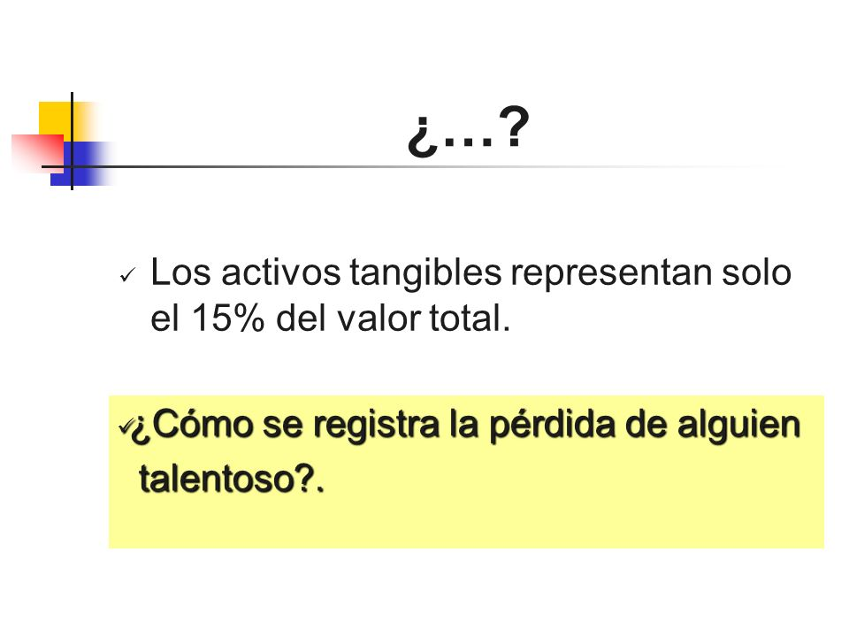 ¿… Los activos tangibles representan solo el 15% del valor total.