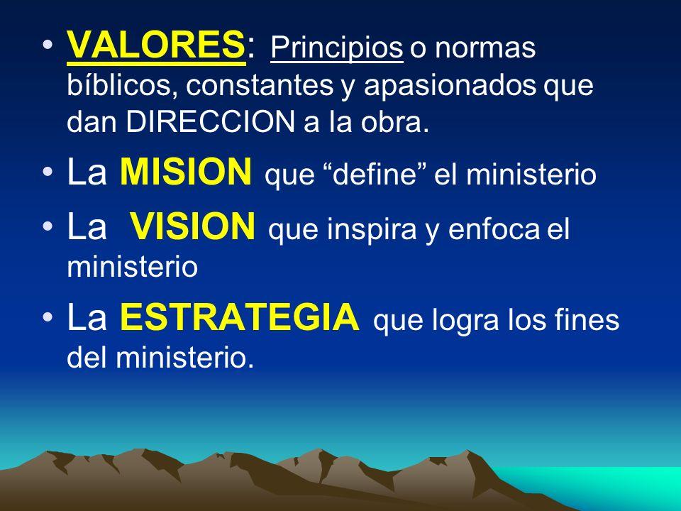 VALORES: Principios o normas bíblicos, constantes y apasionados que dan DIRECCION a la obra.