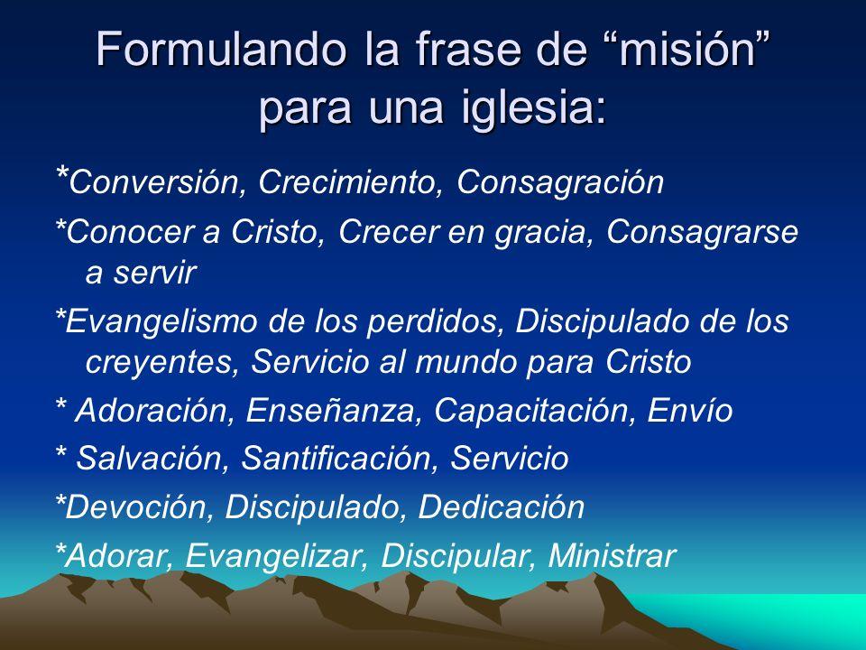 Formulando la frase de misión para una iglesia: