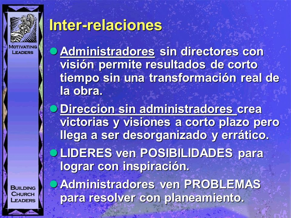 Inter-relaciones Administradores sin directores con visión permite resultados de corto tiempo sin una transformación real de la obra.