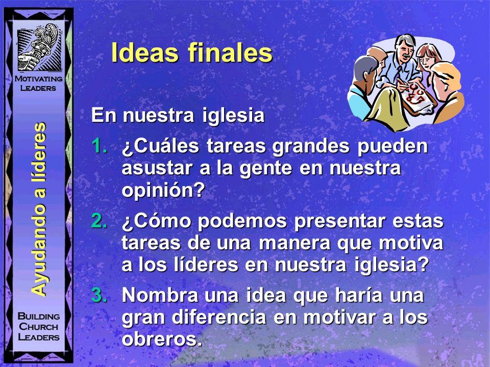 Ideas finales En nuestra iglesia