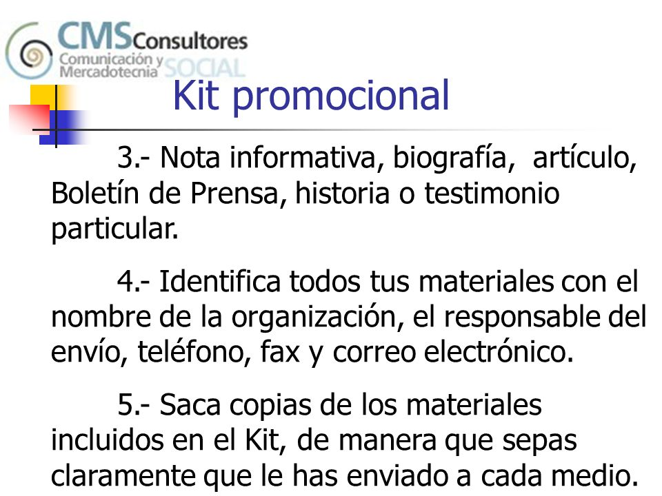 Kit promocional 3.- Nota informativa, biografía, artículo, Boletín de Prensa, historia o testimonio particular.