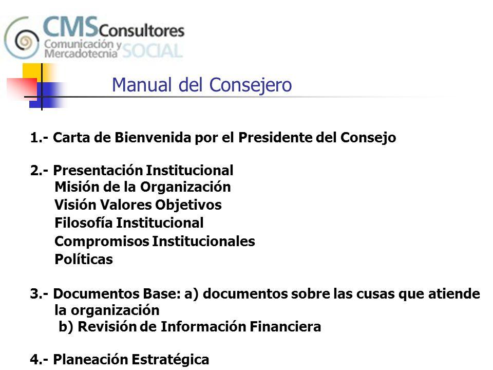 Manual del Consejero 1.- Carta de Bienvenida por el Presidente del Consejo. 2.- Presentación Institucional.