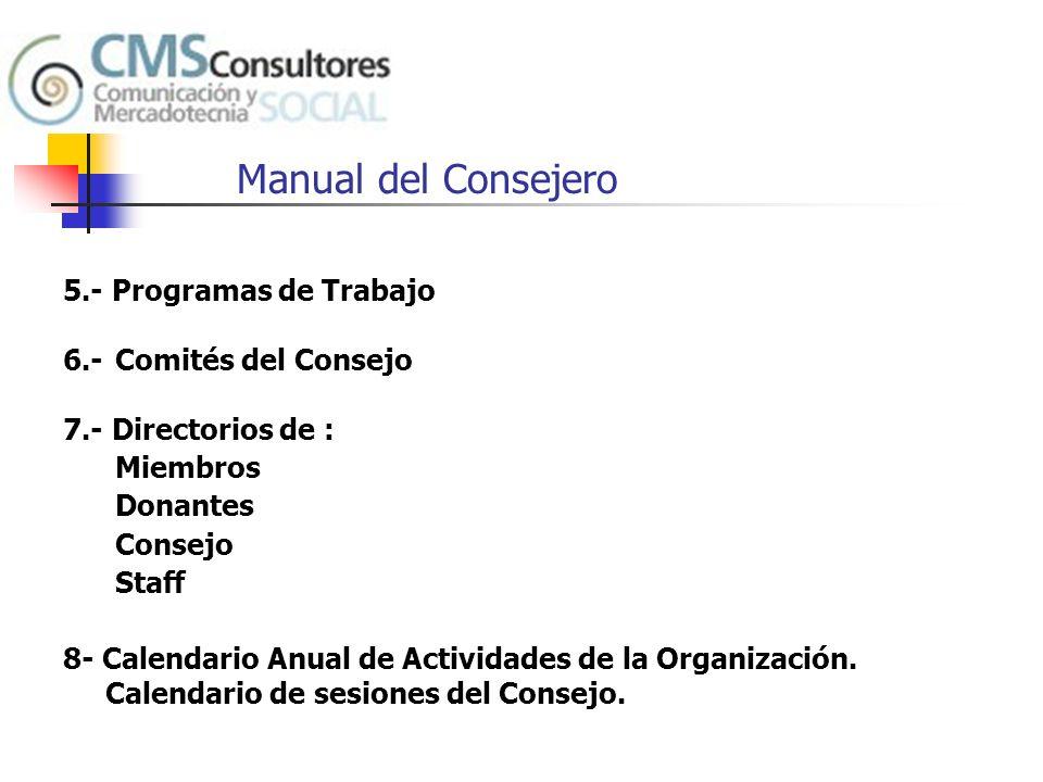 Manual del Consejero 5.- Programas de Trabajo 6.- Comités del Consejo
