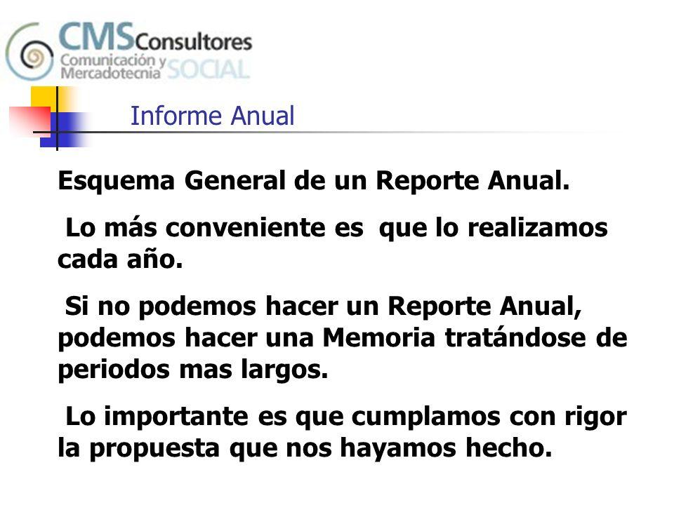 Informe Anual Esquema General de un Reporte Anual. Lo más conveniente es que lo realizamos cada año.