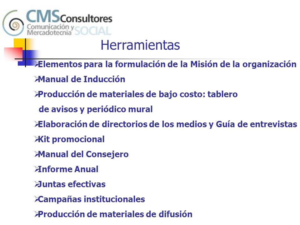 Herramientas Elementos para la formulación de la Misión de la organización. Manual de Inducción. Producción de materiales de bajo costo: tablero.