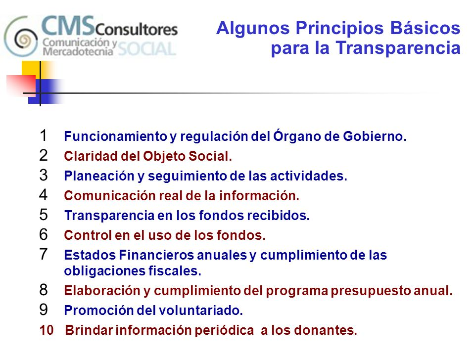Algunos Principios Básicos para la Transparencia