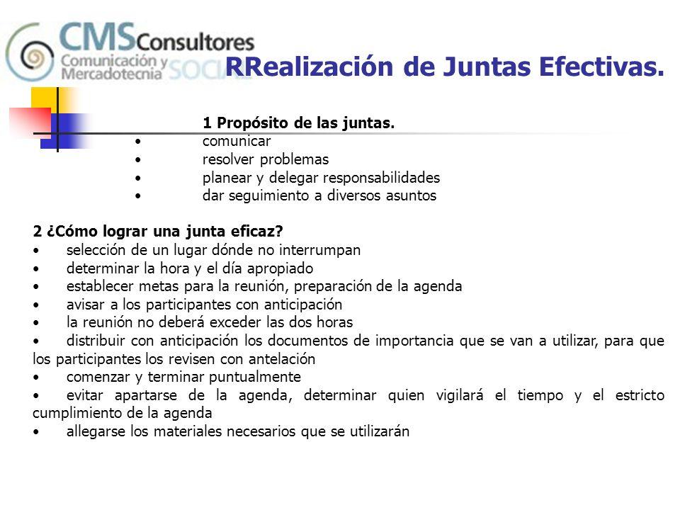 RRealización de Juntas Efectivas.