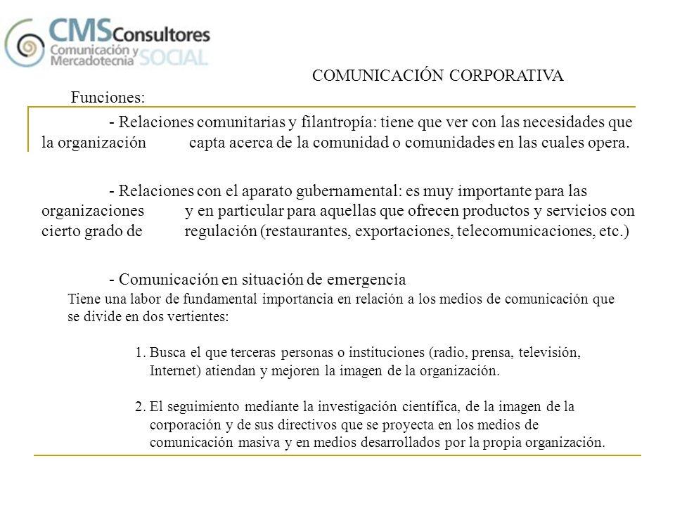 COMUNICACIÓN CORPORATIVA Funciones: