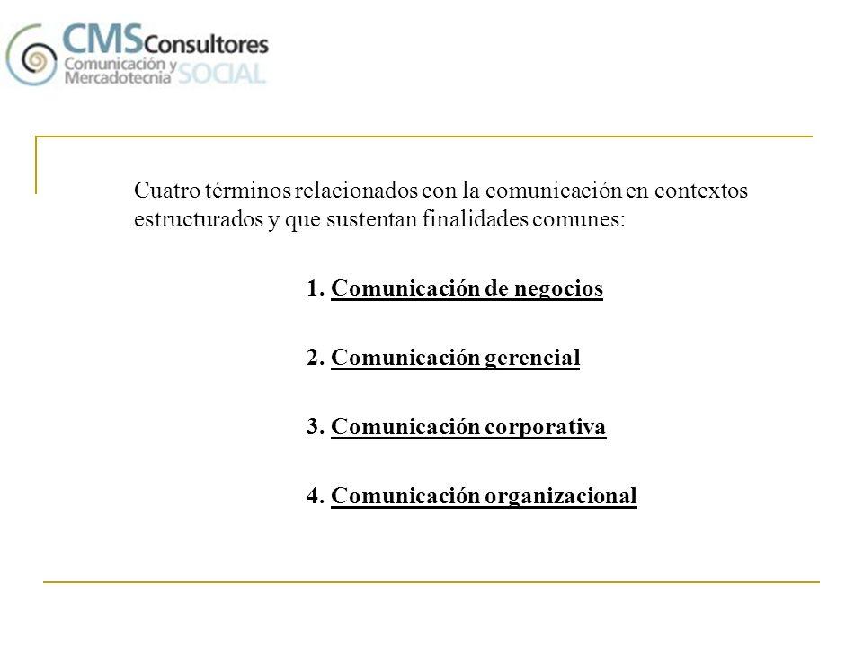 Cuatro términos relacionados con la comunicación en contextos estructurados y que sustentan finalidades comunes: