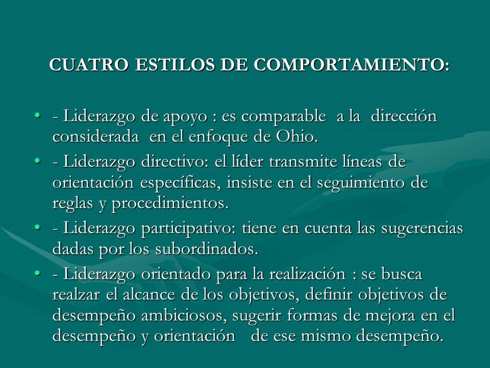 CUATRO ESTILOS DE COMPORTAMIENTO: