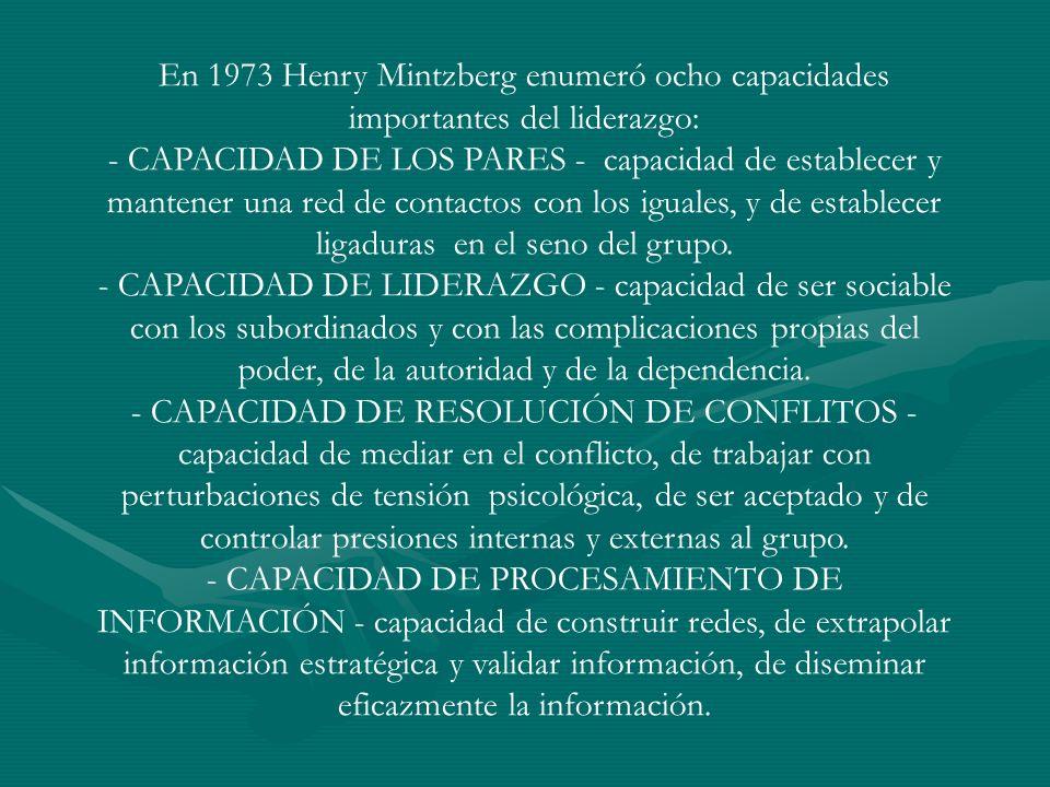 En 1973 Henry Mintzberg enumeró ocho capacidades importantes del liderazgo: