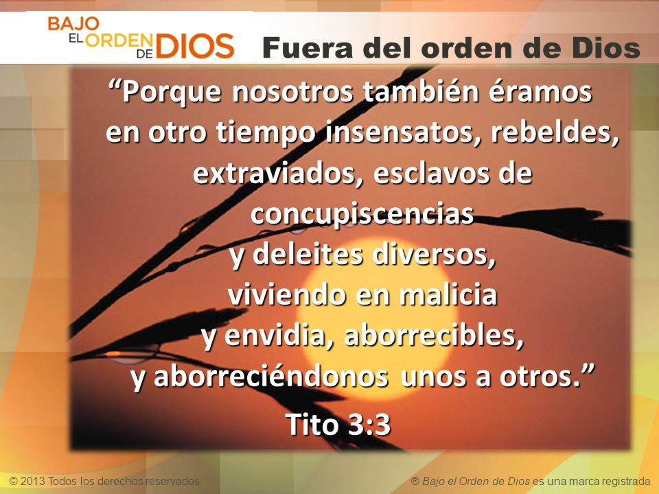 Fuera del orden de Dios