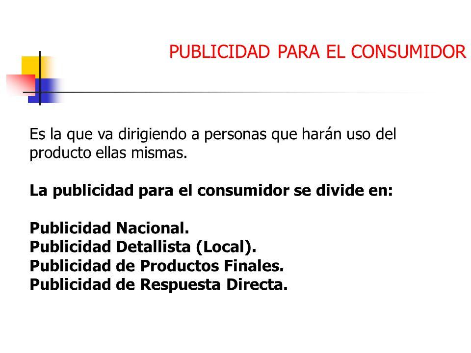 PUBLICIDAD PARA EL CONSUMIDOR