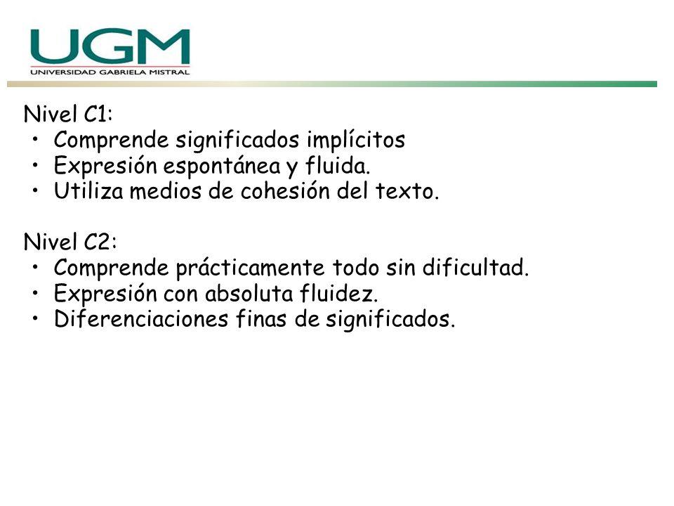 Nivel C1: Comprende significados implícitos. Expresión espontánea y fluida. Utiliza medios de cohesión del texto.
