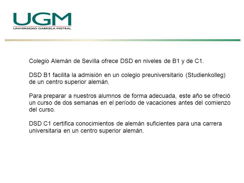 Colegio Alemán de Sevilla ofrece DSD en niveles de B1 y de C1.
