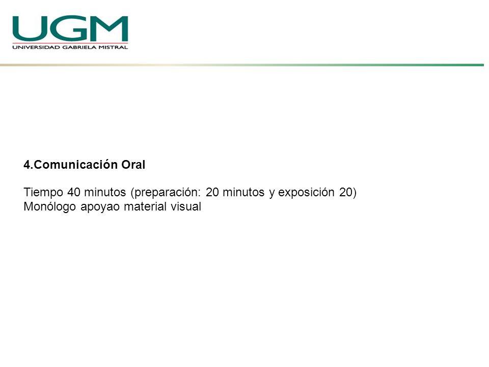 4.Comunicación Oral Tiempo 40 minutos (preparación: 20 minutos y exposición 20) Monólogo apoyao material visual.