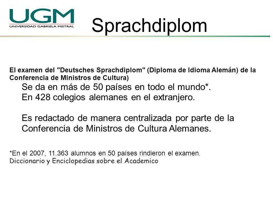 Sprachdiplom Se da en más de 50 países en todo el mundo*.