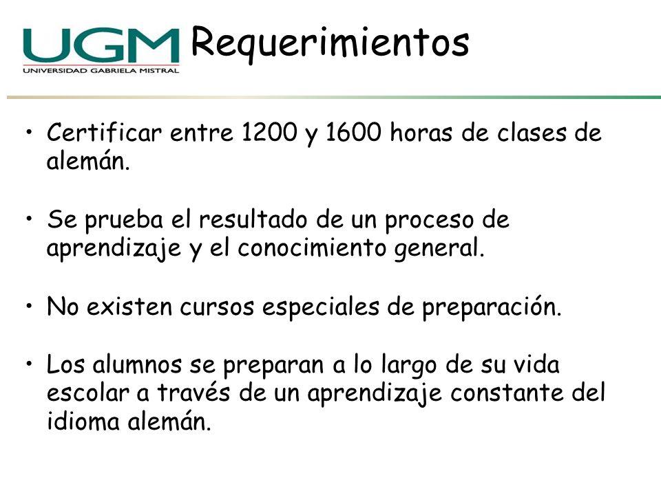 Requerimientos Certificar entre 1200 y 1600 horas de clases de alemán.