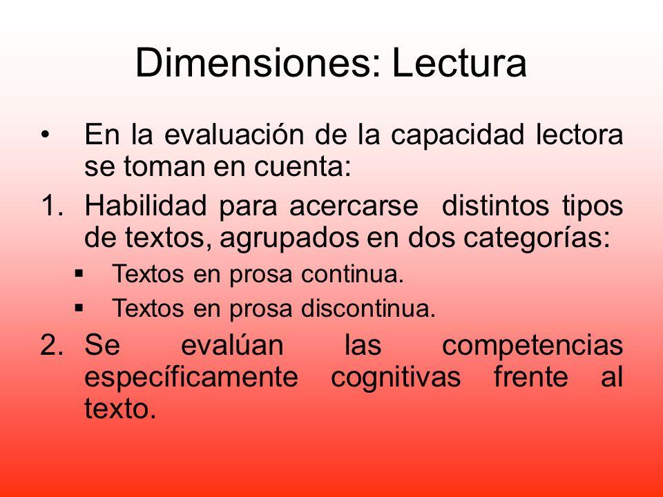 Dimensiones: Lectura En la evaluación de la capacidad lectora se toman en cuenta:
