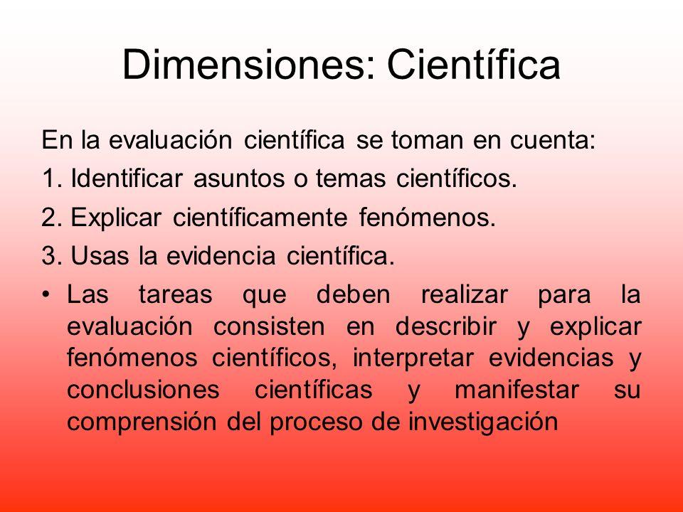 Dimensiones: Científica