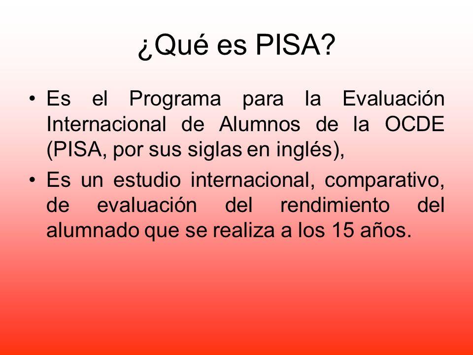 ¿Qué es PISA Es el Programa para la Evaluación Internacional de Alumnos de la OCDE (PISA, por sus siglas en inglés),