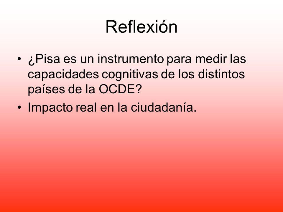 Reflexión ¿Pisa es un instrumento para medir las capacidades cognitivas de los distintos países de la OCDE